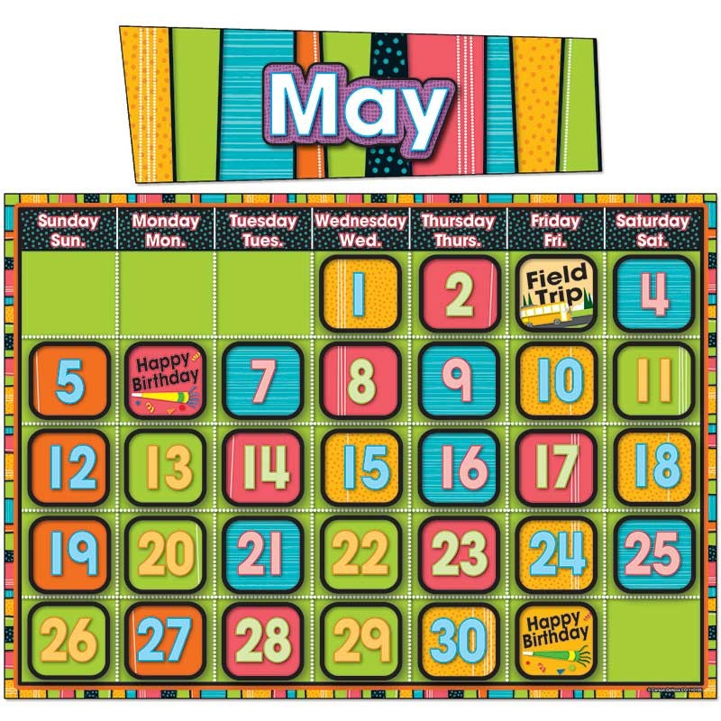 Classroom Calendar Bulletin Board Set : Stylin stripes calendar bulletin board set cd