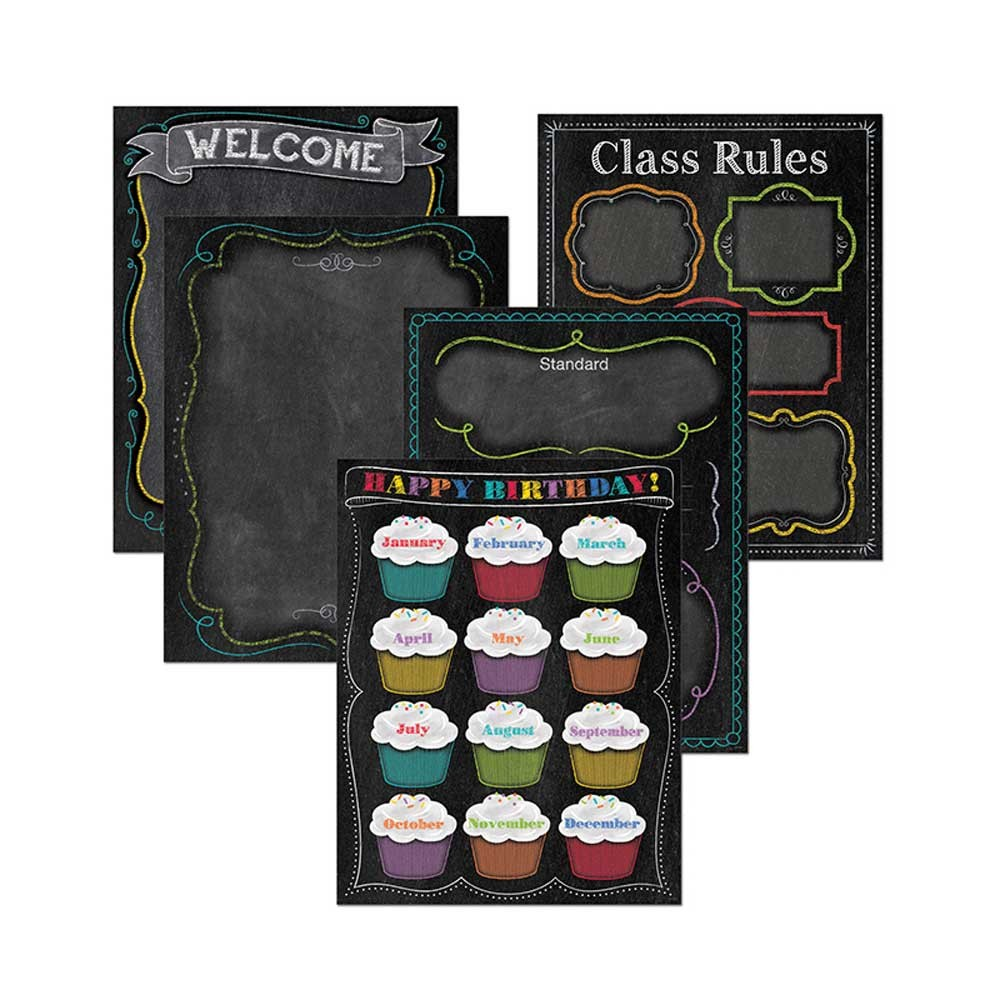 Classroom Decor Packs : Chalk it up classroom essentials chart pack ctp