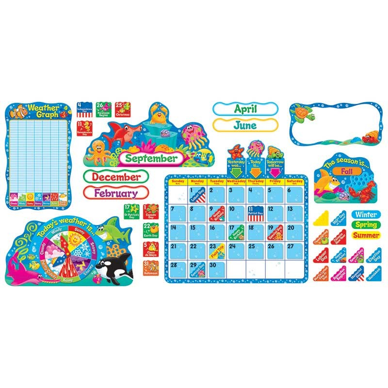 Classroom Calendar Bulletin Board Set : Sea buddies calendar bulletin board set t trend