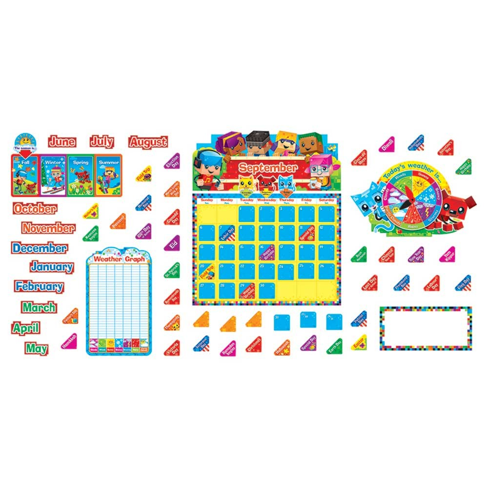 Classroom Calendar Set : Blockstars calendar bulletin board set t trend