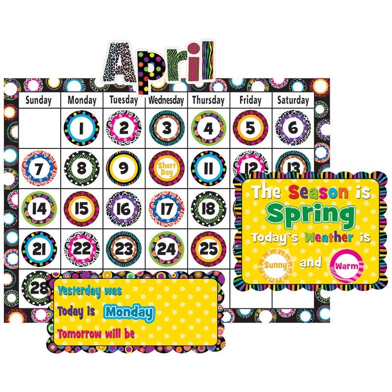 Classroom Calendar Bulletin Board Set : Fancy circles calendar bulletin board set tcr
